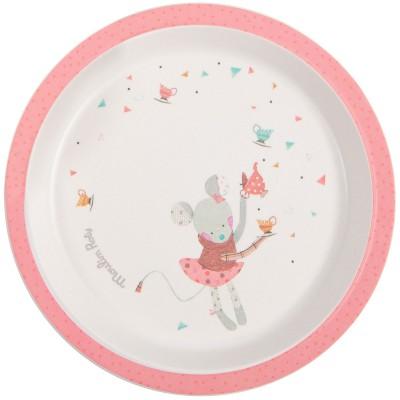 Assiette plate rose Les jolis trop beaux  par Moulin Roty