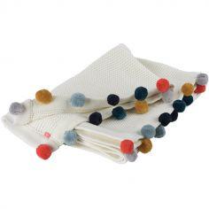 Couverture en coton bio Pompons (80 x 100 cm)