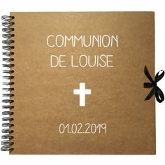 Album photo communion personnalisable kraft et blanc (30 x 30 cm)