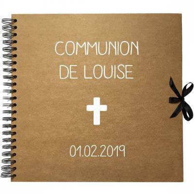 Album photo communion personnalisable kraft et blanc (30 x 30 cm)  par Les Griottes