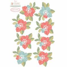 Stickers muraux Fleurs rose et bleu