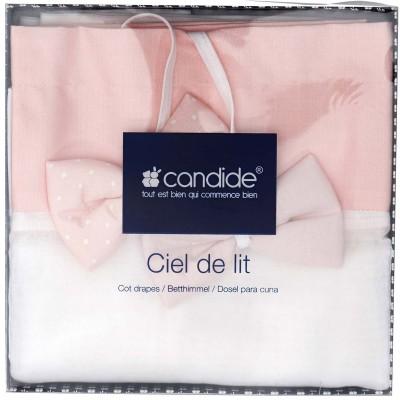 Ciel de lit mademoiselle rose clair et blanc 136 x 155 cm - Ciel de lit candide poeme ...
