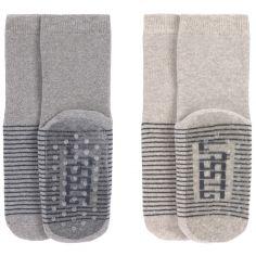 Lot de 2 paires de chaussettes antidérapantes en coton bio gris (pointure 19-22)