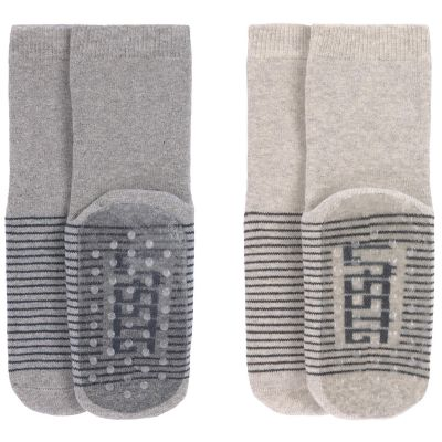Lot de 2 paires de chaussettes antidérapantes en coton bio gris (pointure 19-22)  par Lässig
