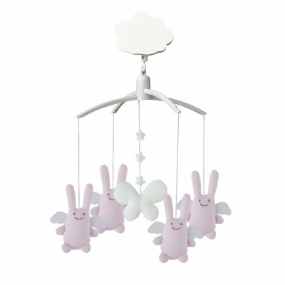 Mobile musical Ange lapin rose  par Trousselier