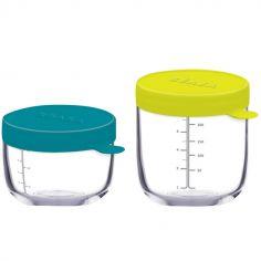 Pots de conservation Portion verre bleu et néon (lot de 2)