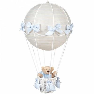 Lampe montgolfière vichy bleu  par Pasito a pasito
