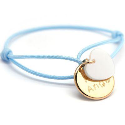 Bracelet cordon Kids médaille Coeur nacre plaqué or 10-14 cm (personnalisable)  par Petits trésors