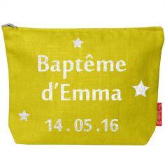 Pochette baptême ou communion jaune (personnalisable)