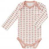 Body manches longues Feuille rose (Naissance : 50 cm) - Fresk