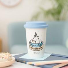 Mug Take Away licorne Rien n'est impossible bleu