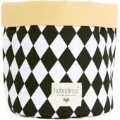 Panier de toilette en tissu Mambo Losange noir (25 x 26 cm) - Nobodinoz