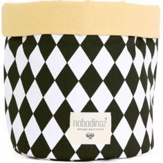 Panier de toilette en tissu Mambo Losange noir (25 x 26 cm)