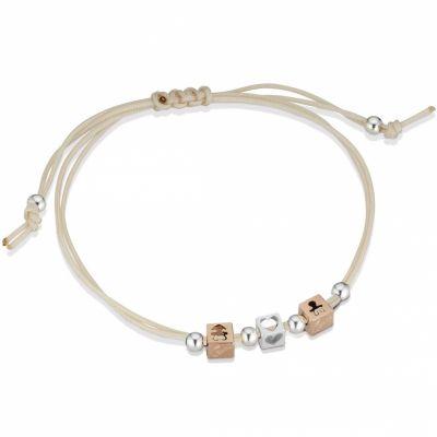 Bracelet cordon beige 1 cube garçon 1 cube fille 1 cube coeur (or rose 375° et argent 925°)  par leBebé