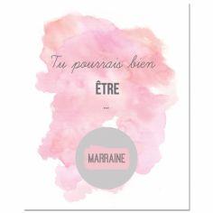 Carte à gratter Demande spéciale Aquarelle Marraine (8 x 10 cm)