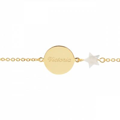 Bracelet Lovely nacre étoile (plaqué or jaune)  par Petits trésors