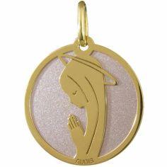 Médaille de la Vierge (or jaune 750° et acier rose)