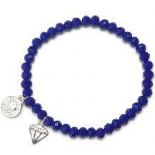 Bracelet charm perles bleues diamant  par Proud MaMa