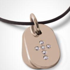 Collier cordon de baptême avec diamants personnalisable (or rose 750°)
