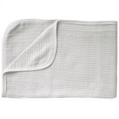 Couverture en bambou bio Ninna Mini Summer New Vintage blanc (100 x 75 cm)