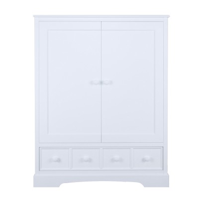 armoire 2 portes chiffonnier r verie blanche. Black Bedroom Furniture Sets. Home Design Ideas