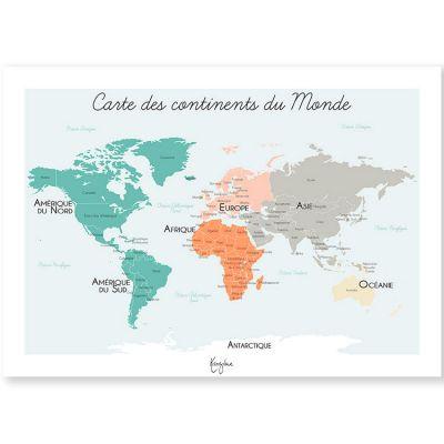 Affiche A4 Carte du monde  par Kanzilue