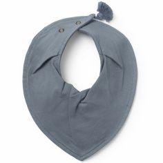 Bavoir bandana pompon Tender Blue