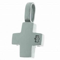 Pendentif Croix avec bélière 11 mm (or blanc 750°)