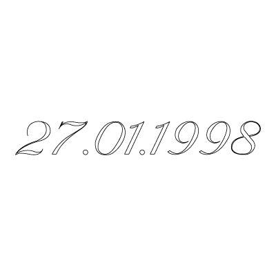Gravure date en chiffres sur bijou  (Typo 6 Vanessa)  par Gravure magique