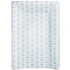 Matelas à langer luxe triangles bleu et gris (50 x 70 cm)