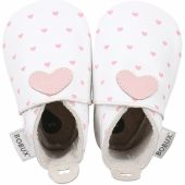 Chaussons bébé en cuir Soft soles Coeur roses et blancs (9-15 mois) - Bobux