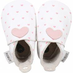 Chaussons bébé en cuir Soft soles Coeur roses et blancs (9-15 mois)