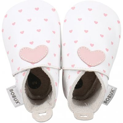 Chaussons bébé en cuir Soft soles Coeur roses et blancs (9-15 mois)  par Bobux