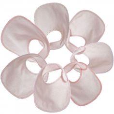 Lot de 7 bavoirs à velcro Essentiel roses