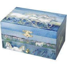 Boîte à bijoux musicale phosphorescente cheval bleue