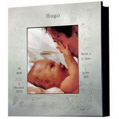 Cadre photo album thème baptême personnalisable (métal argenté) 2db8dbfc066