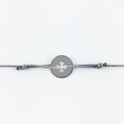 Bracelet cordon bébé médaille Mini Croix Occitane 10 mm (or blanc 750°) Maison La Couronne
