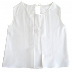 Blouse de baptême brodée blanche avec ourlet surpiqué