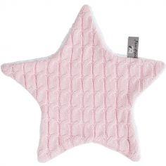Doudou plat étoile Cable Uni rose (30 x 30 cm)