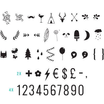 Assortiment de motifs et chiffres noirs pour lightbox  par A Little Lovely Company