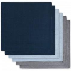 Lot de 6 langes bleu marine, bleu, gris (70 x 70 cm)