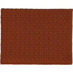 Couverture tricotée en dentelle noisette Chestnut (75 x 100 cm)