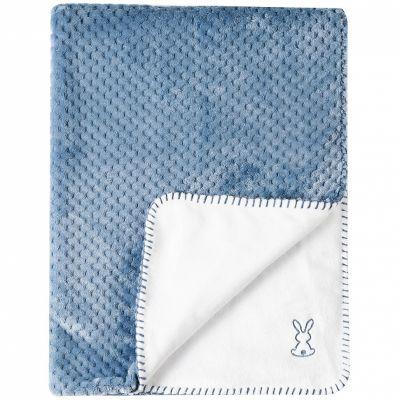 Couverture bébé Supersoft Lapidou bleu et blanc (75 x 100 cm)  par Nattou