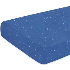 Drap housse de berceau constellations Stary bleu jean (40 x 90 cm)