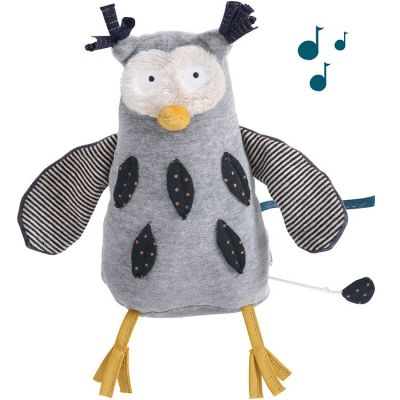 Peluche musicale hibou Les Moustaches (18 cm) Moulin Roty