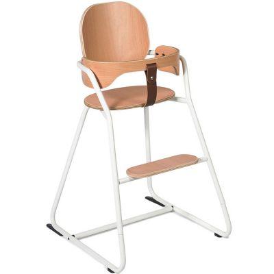 Chaise haute Tibu Gentle blanc avec ceinture  par Charlie Crane