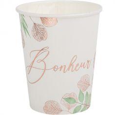 Lot de 8 gobelets en carton Bonheur Botanique rose gold (250 ml)