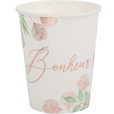 Lot de 8 gobelets en carton Bonheur Botanique rose gold (250 ml)  par Arty Fêtes Factory
