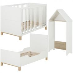 Lit bébé évolutif et cabane blanc Céleste (70 x 140)
