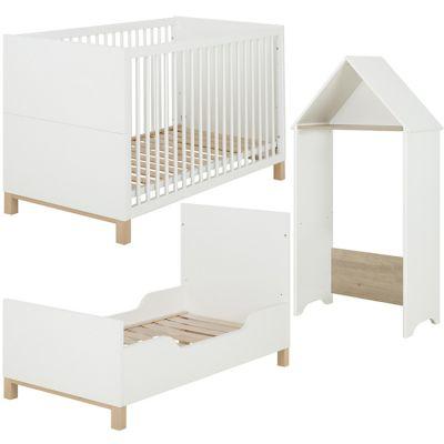 Lit bébé évolutif et cabane blanc Céleste (70 x 140) Galipette